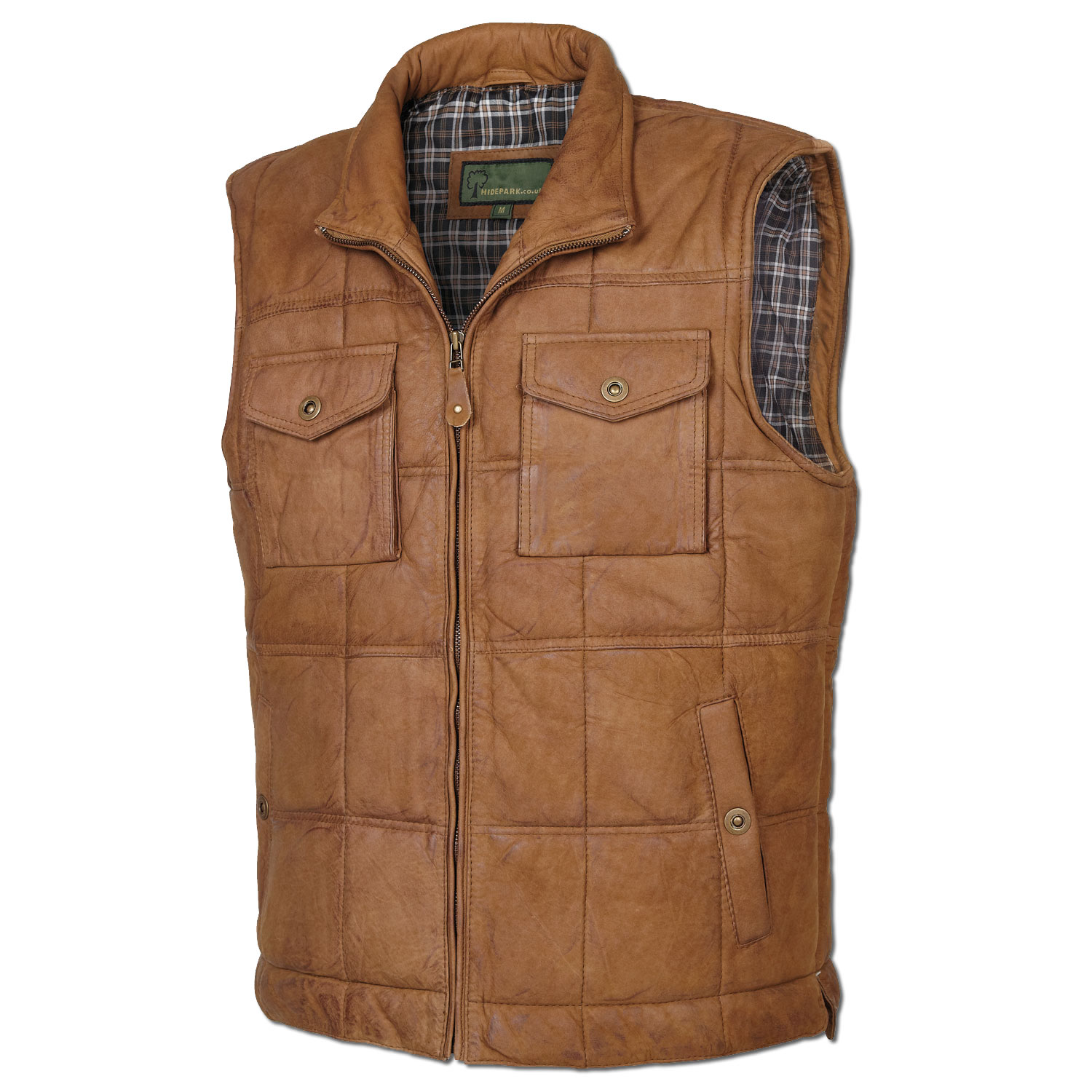 The Mole Hole Products Gents Padded Tan Leather Gilet